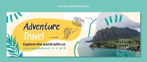 Нарисованный рукой заголовок твиттера приключенческого путешествия