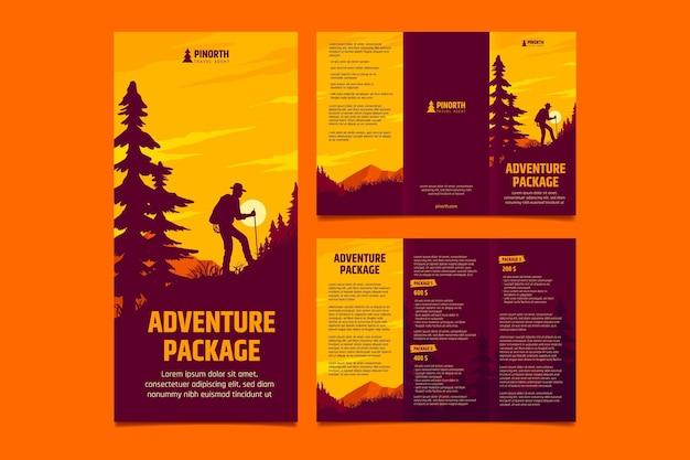 Hand drawn adventure trifold brochure template