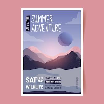 Hand drawn adventure vertical flyer template