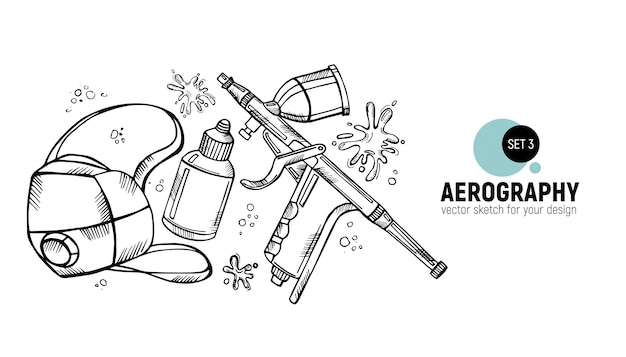 Hand drawn of aerography tools.