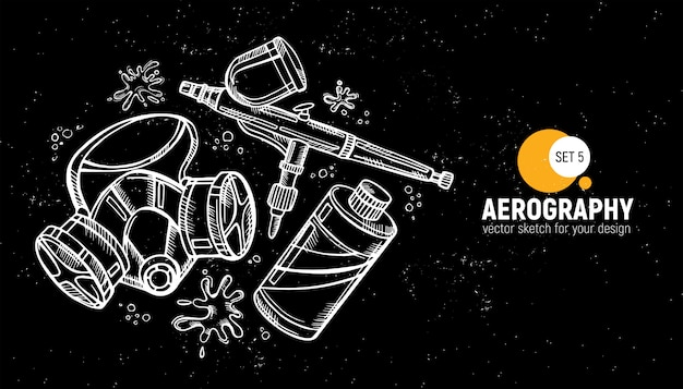 Hand drawn of aerography tools.