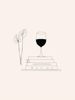 Hand drawn aesthetic fashion illustration with linear glass of wine books and flower line art