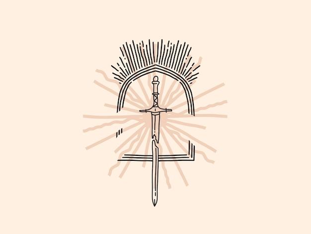 手描きの美的ロゴ、剣とアーチ、シンプルなスタイルの魔法の線画。