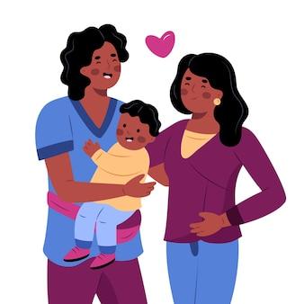 赤ちゃんと手描きのアフリカ系アメリカ人の家族