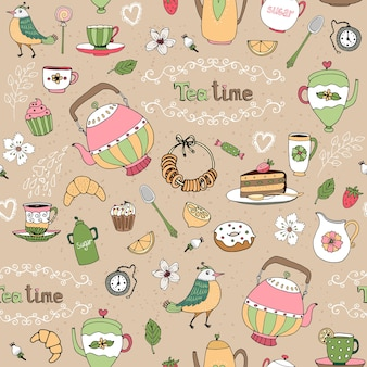 Hand drawn afternoon tea seamless background pattern with teapots