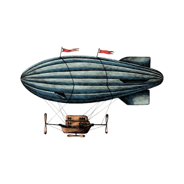 Hand drawn airship retro style