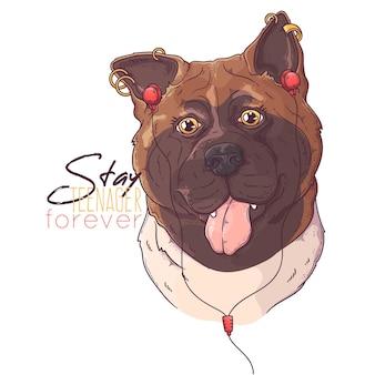 Нарисованная рукой собака акита с наушниками и пирсингом