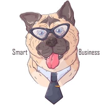 Ручной обращается собака акита с галстуком