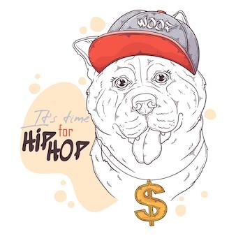 Нарисованная рукой собака рэпера акита