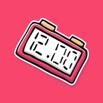 手描きの目覚まし時計の漫画のデザイン