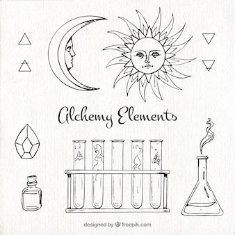 Hand drawn alchemy elements collection