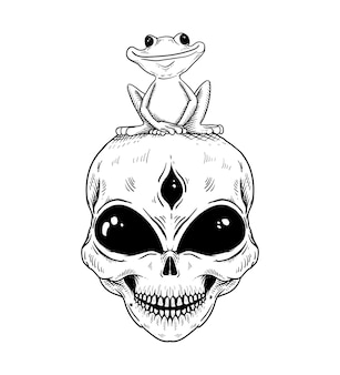 Hand drawn alien and frog isolated illustration