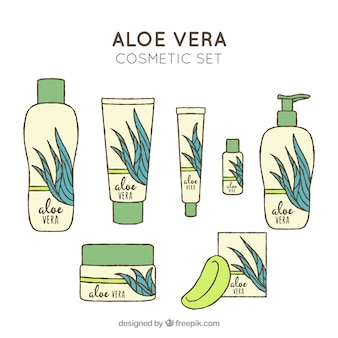 Hand drawn aloe vera products set