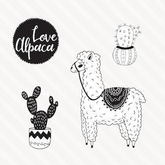 Hand drawn alpaca illustration