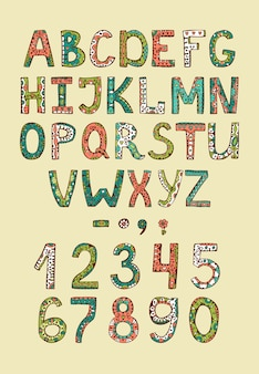 Hand drawn alphabet abs letters with colored decorative ornament