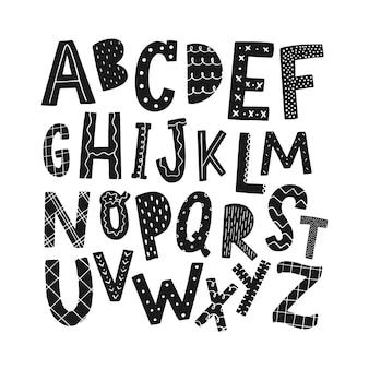 保育園のプリントとポスターのための手描きのアルファベット