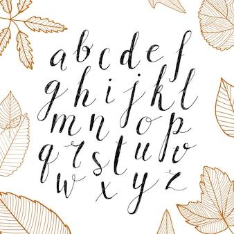手描きのアルファベット。数字と手書きのスクリプトアルファベット。ロゴ、ポスター、招待状、カードなどの手書き文字とカスタムタイポグラフィ。