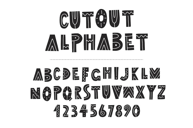 Hand drawn alphabet, letters and numbers on chalkboard background