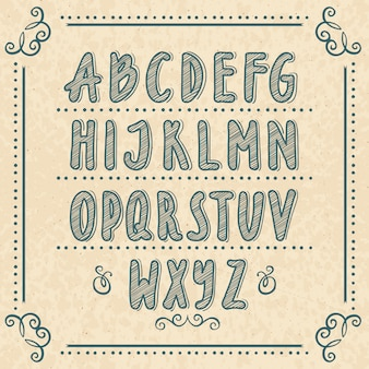 Hand drawn alphabet with doodle letters. vector illustrations set