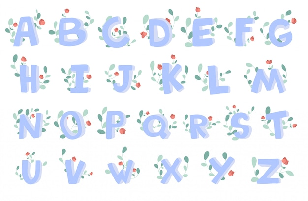 Hand-drawn alphabet with floral decoration, font, letters.