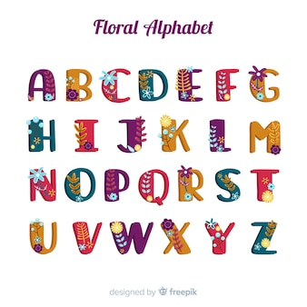 Hand drawn alphabet with flowers