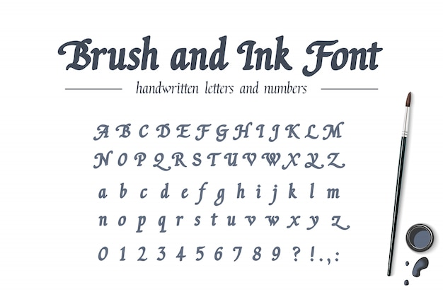 筆ペンとインクで書かれた手描きのアルファベット。普遍的な手書きの太字フォント。レトロなスタイルの古典的な書道スクリプト。文字、数字のモダンな書体