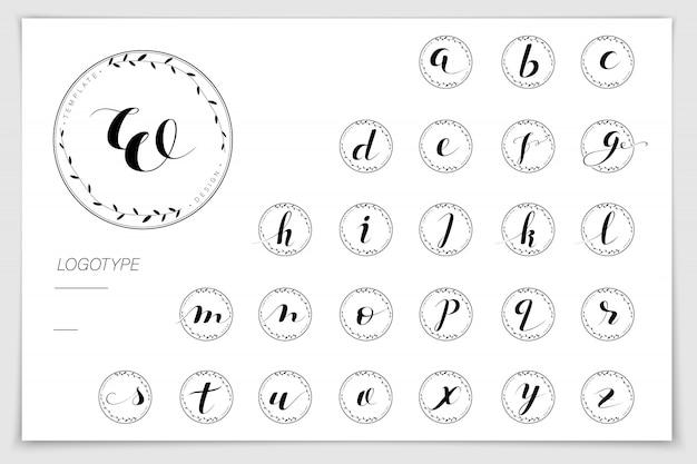 Hand drawn alphabet written with brush pen