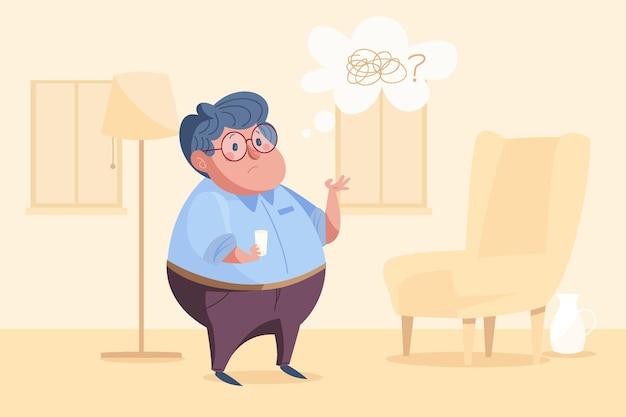 Нарисованная рукой иллюстрация концепции болезни альцгеймера