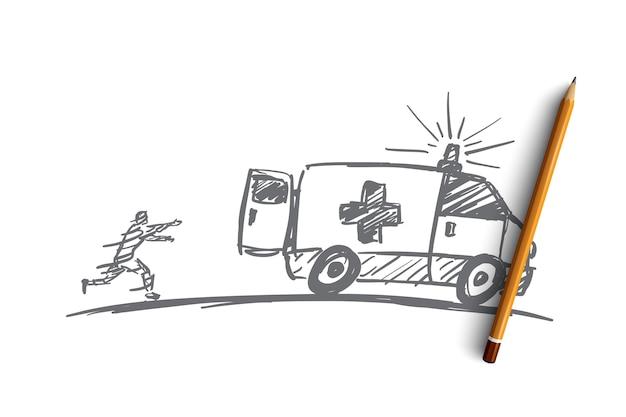 위에 연필로 손으로 그려진 된 구급차 개념 스케치.