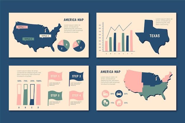 Hand-drawn america map infographic