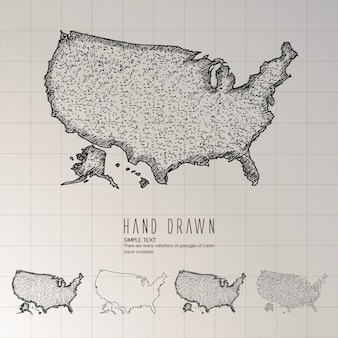 손으로 그린 미국지도.