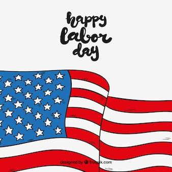 Bandiera americana disegnata a mano agitando
