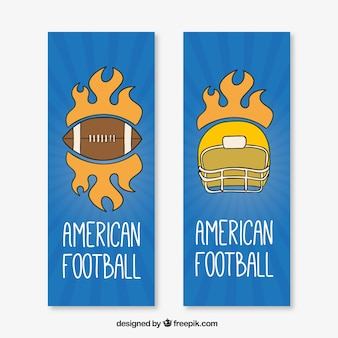 Hand-drawn american football banners with helmet and ball