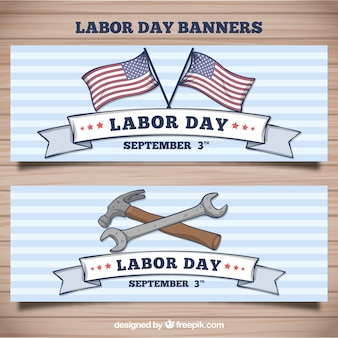 Hand drawn american labor day banners