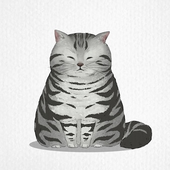Hand drawn of american shorthair cat in watercolor style