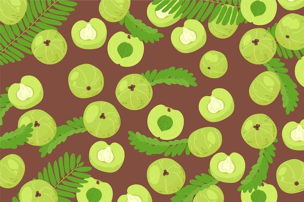 Hand drawn amla fruit background illustrated