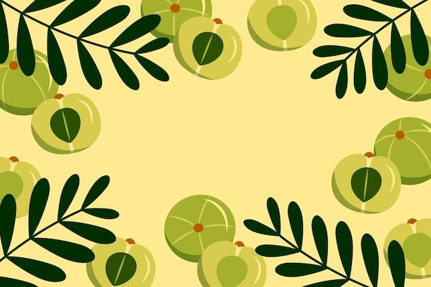Hand drawn amla fruit background