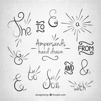 Hand drawn ampersands and prepositions collection