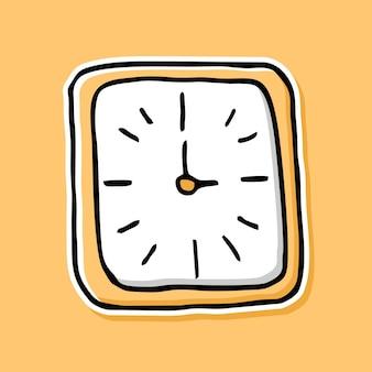 手描きのアナログ時計の漫画のデザイン