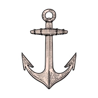 Hand drawn anchor illustration in engraving style.  element for poster, t shirt, emblem, sign.  image