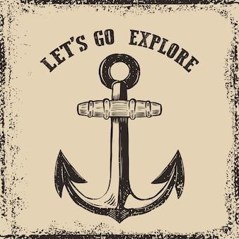 Hand drawn anchor illustration on grunge background.  element for poster, t-shirt.  illustration
