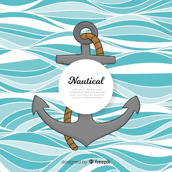 Hand drawn anchor nautical background