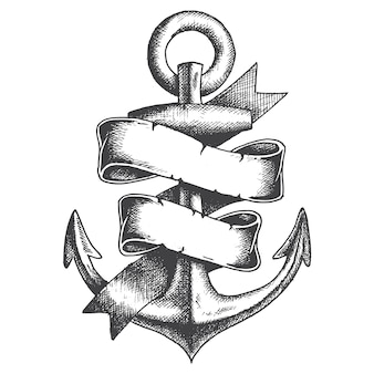 Hand drawn anchor with ribbon monochrome style