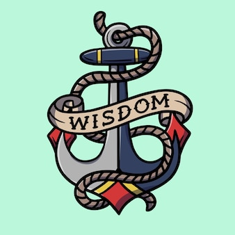 Hand drawn anchor with wisdom text