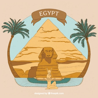 Hand drawn ancient egypt composition