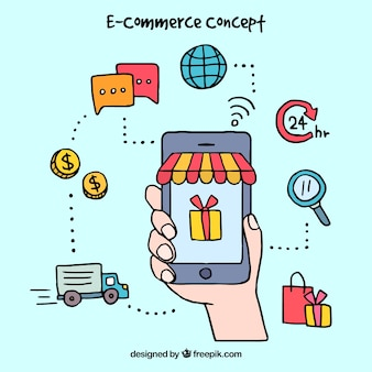 Рисованная и красочная концепция электронной коммерции