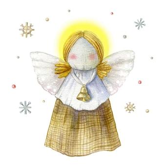 종소리와 함께 손으로 그린 천사 장난감