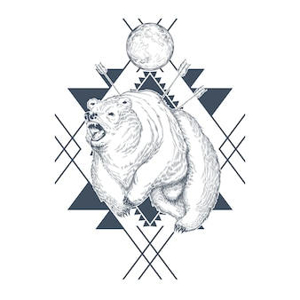 Hand drawn angry bear, planet in abstract geometric shapes, wounded beast by arrows.