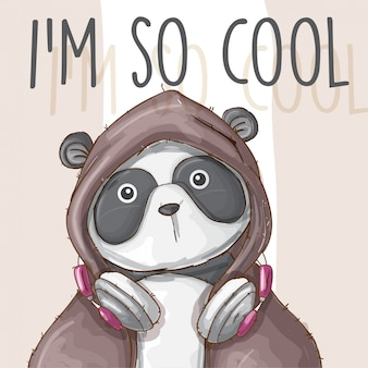 Hand drawn animal cute panda -vector