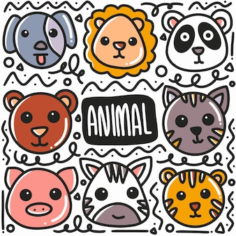 Hand drawn animal face doodle set with icons and design elements